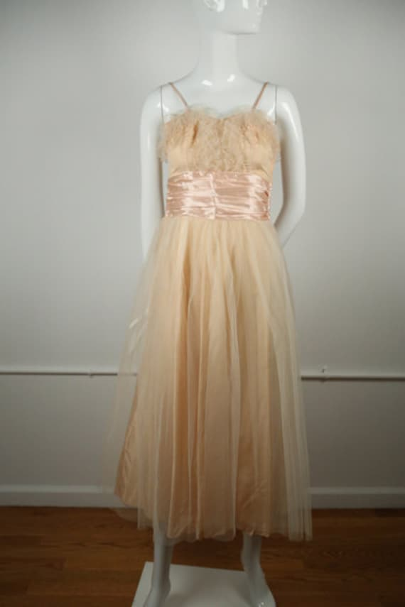 1950s Blush Tulle Rockabilly Dress