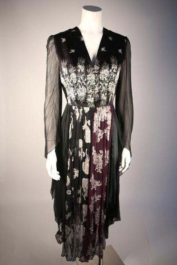 Designer 1970s Floral Jacquard Dress
