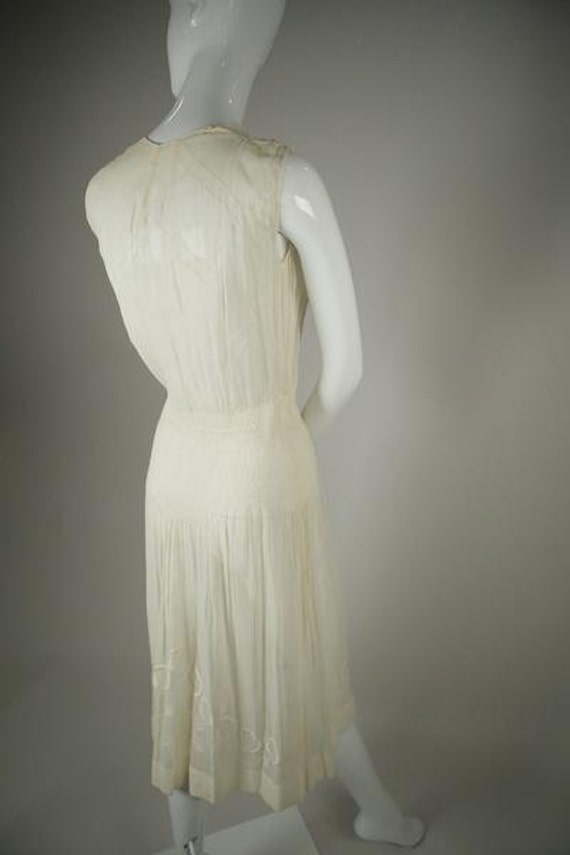 1920s Embroidered Deco Cotton Voile Dress - image 2