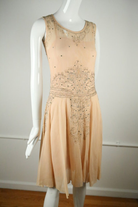 1920s Peach Art Deco Dress