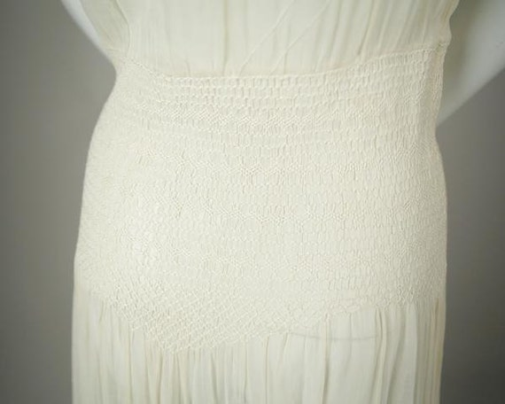 1920s Embroidered Deco Cotton Voile Dress - image 4