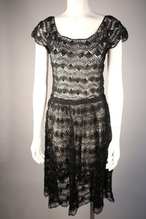 Couture 1950s Hand-Crocheted Wool Dress