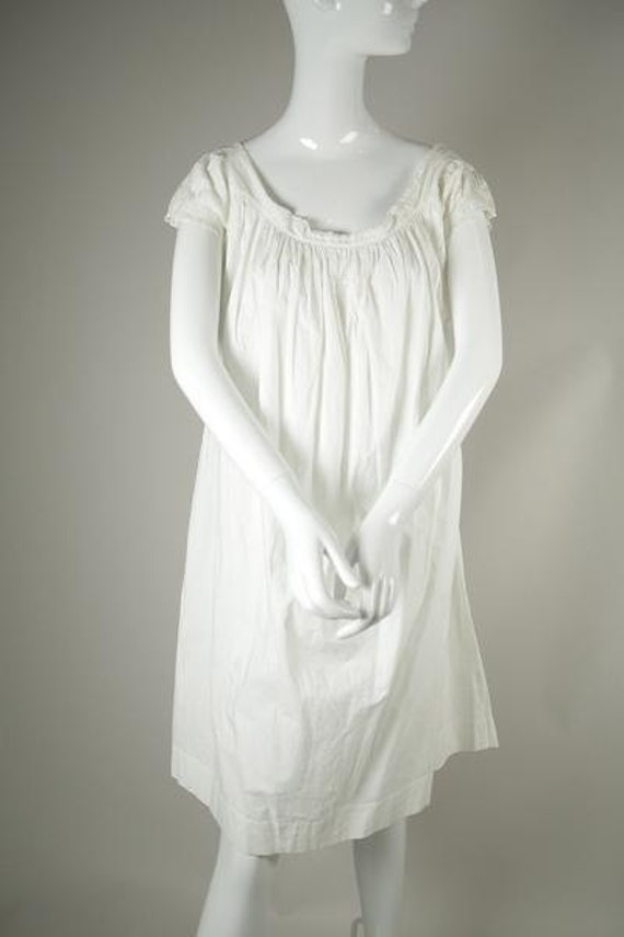Victorian/ Edwardian Era White Cotton Dress