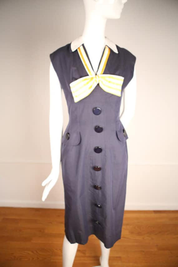 1940s Nautical Dress with Oversized Buttons