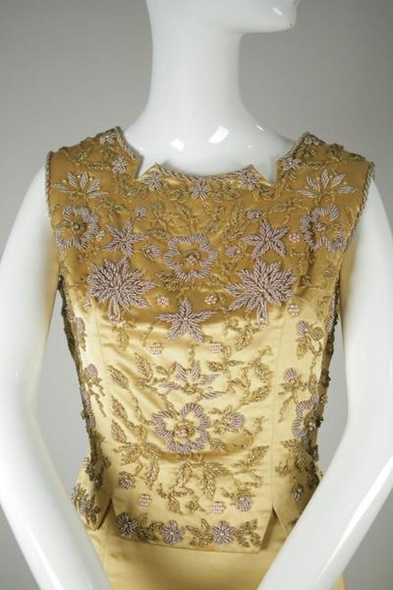 1960s Beaded Satin Two-Piece - image 2