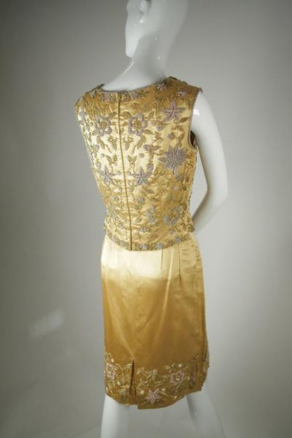 1960s Beaded Satin Two-Piece - image 3