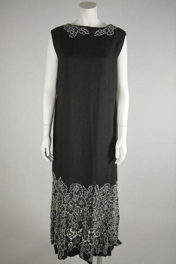 1930s Black Linen Dress with Hand Embroidery