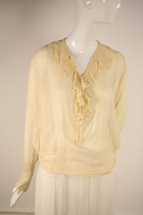 Edwardian Cotton Buttoned Blouse