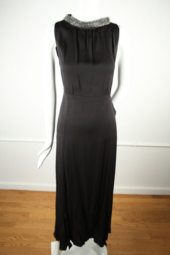 1930s Crepe Boat Neck Evening Gown