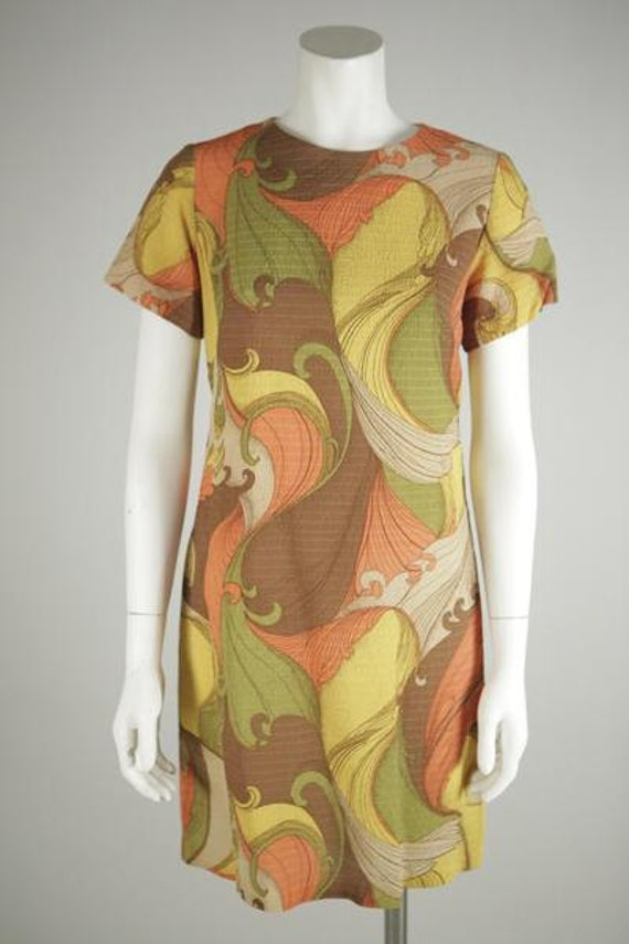 1960s Psychedelic Print Mod Mini Dress