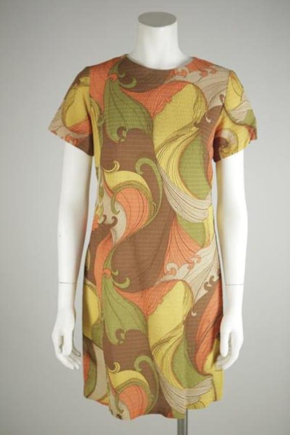 1960s Psychedelic Print Mod Mini Dress - image 1