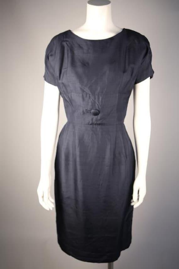 1930s Navy Silk Shantung Day Dress