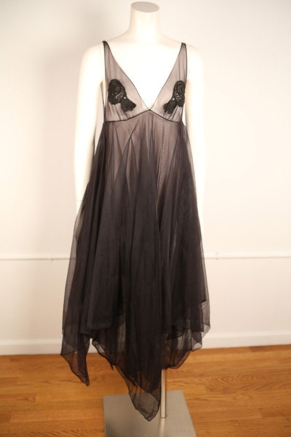 1970s Black Nylon Handkerchief Dress (Sheer)