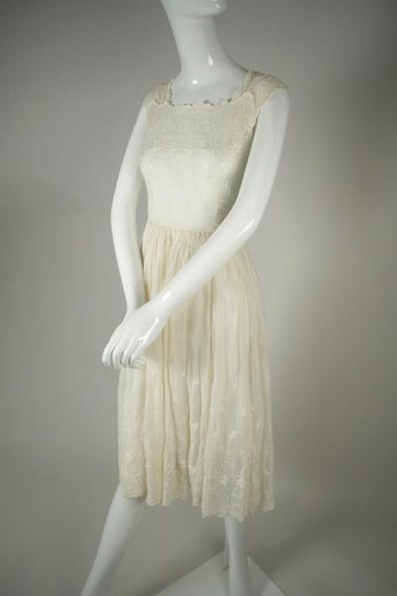 1950s Cotton Voile Tea Dress