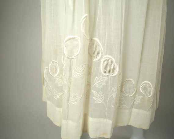 1920s Embroidered Deco Cotton Voile Dress - image 5