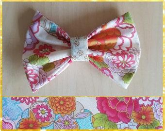 Cream floral hair bow  - flower bow - floral bow
