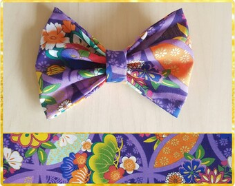 Purple floral hair bow  - flower bow - floral bow