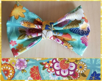 Turquoise floral hair bow  - flower bow - floral bow
