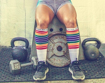 9f4f3bf59ab85 Adult Rainbow Knee High Socks | Unisex Tube Socks | Rainbow Striped Socks |  Pride Socks