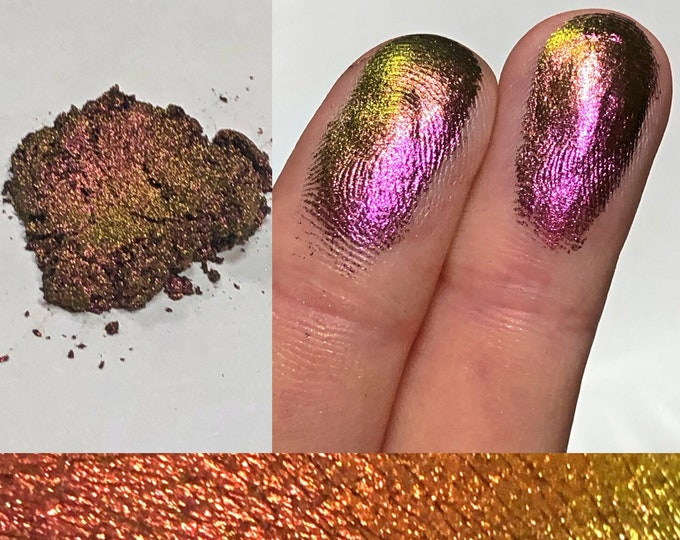 ROARING ROSE *Loose* - Extreme Multichrome Colorshift Chameleon - multi chromecolor changing pink maroon gold green