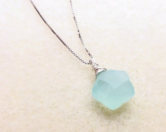 Aqua Chalcedony Necklace, Star Necklace, Gemstone Pendant Necklace, Sterling Silver Jewelry, Girlfriend gifts, unique gifts, valentines gift
