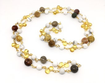 Gemstone Long Rosary Necklace, Citrine, Agatized Coral, Howlite, Handmade Rosary, November Birthstone, Christmas Gift, Unique Gifts
