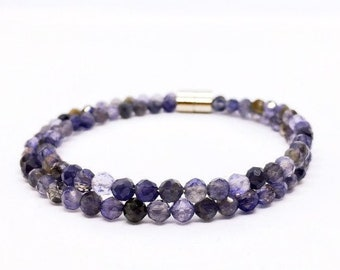 Iolite Bracelet, Dainty Water Sapphire Bracelet, Iolith Armband, Balancing Jewelry, Christmas gift, Unique Gifts, Cordierite, Dichroite