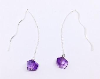 AAA Amethyst Earrings, Minimalist Ear Threaders, Sterling Silver Chain Earrings, Christmas Gift, February Birthstone, 6th 9th anniversary