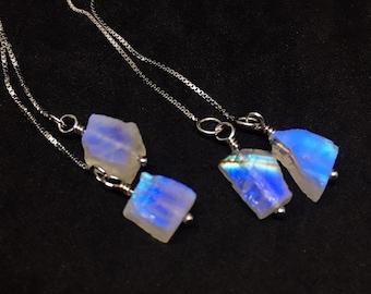 Raw Moonstone Earrings, Rainbow Moonstone Threaders, Mondstein Ohrringe, Sterling Silver, Boucles d'oreilles pierre de lune, valentines gift