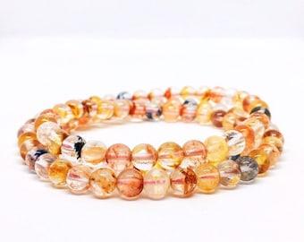 Colorful Lodolite Bracelet, Multi layer Bracelet, Inclusion Quartz Armband, Ghost Quartz Jewelry, Unique Gifts, valentines day gift for her