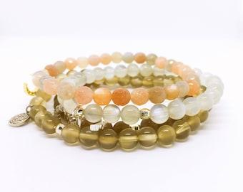 Moonstone Charm Bracelet, Mondstein Armband, Bracelet pierre de lune, June Birthstone, celestial jewelry,  Christmas Gift, Goodsleep Crystal