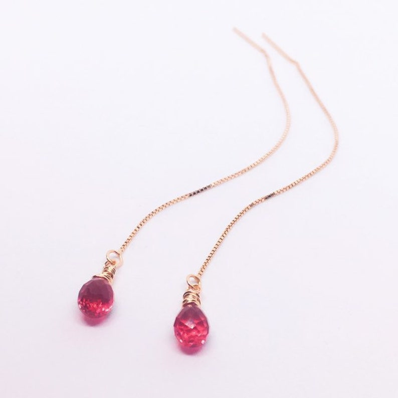 Ruby Red Quartz Threader Earrings Sterling Silver Chain image 0