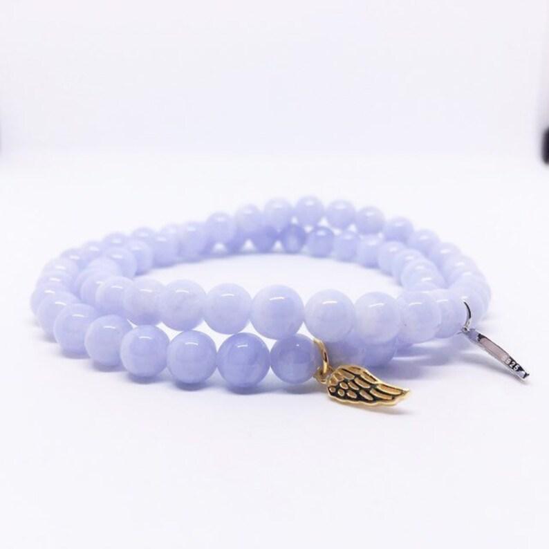 AAA Blue Lace Agate Bracelet 6mm Stretch Bracelet Sterling image 0