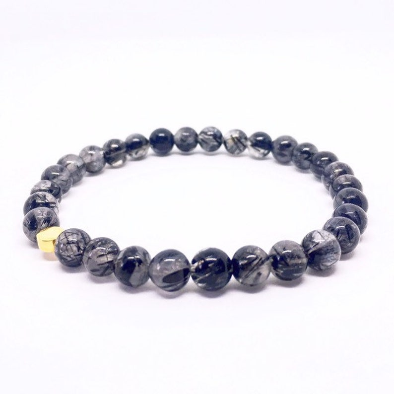 Black Rutilated Quartz Bracelet Black Tourmalinated Quartz image 0