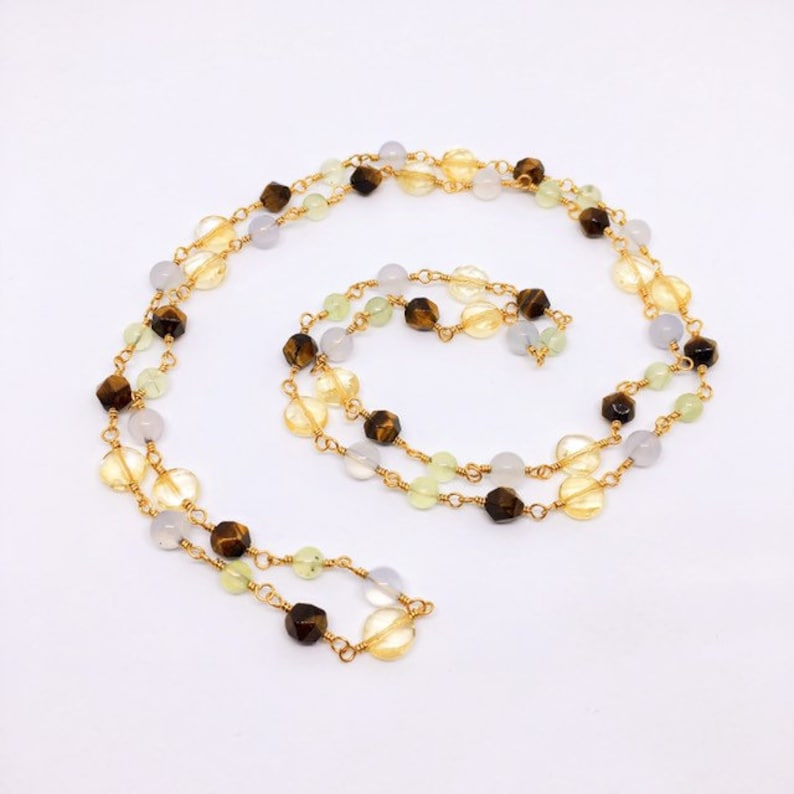 Long Gemstone Necklace Citrine Blue Chalcedony Tigers Eye image 0