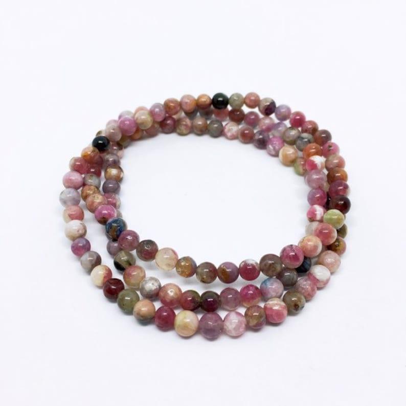 Pink Tourmaline Bracelet Multi Layer Bracelet Turmalin image 0