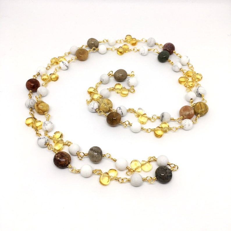 Gemstone Long Rosary Necklace Citrine Agatized Coral image 0