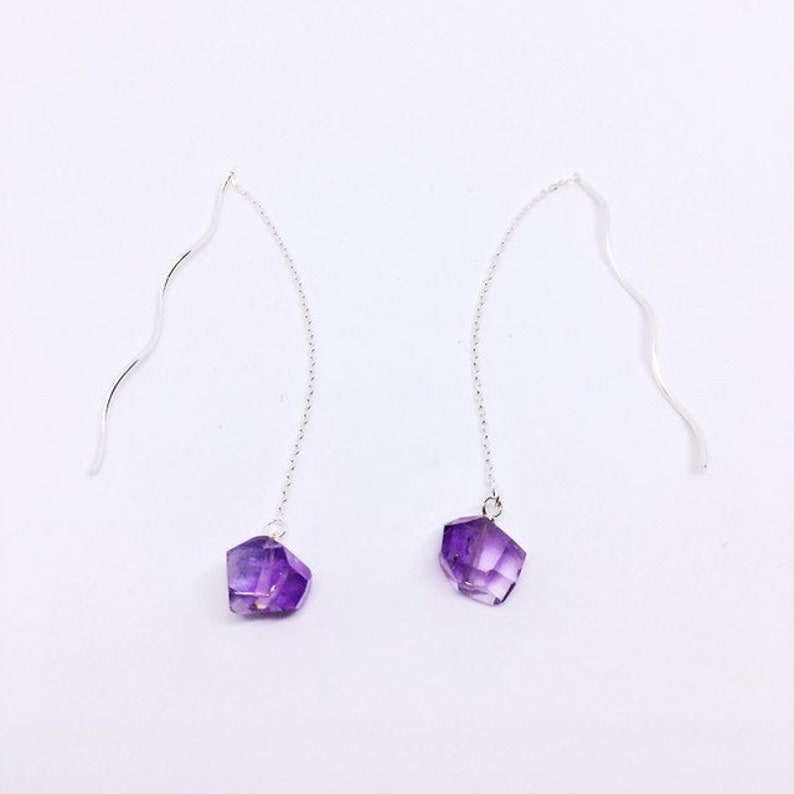 AAA Amethyst Earrings Minimalist Ear Threaders Sterling image 0