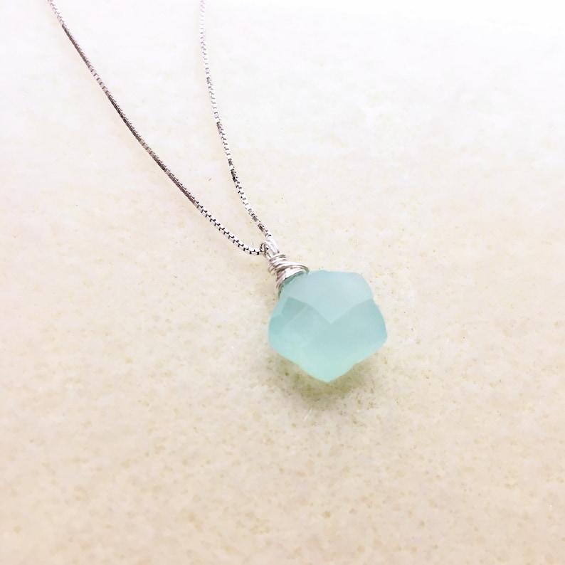 Aqua Chalcedony Necklace Star Necklace Gemstone Pendant image 0
