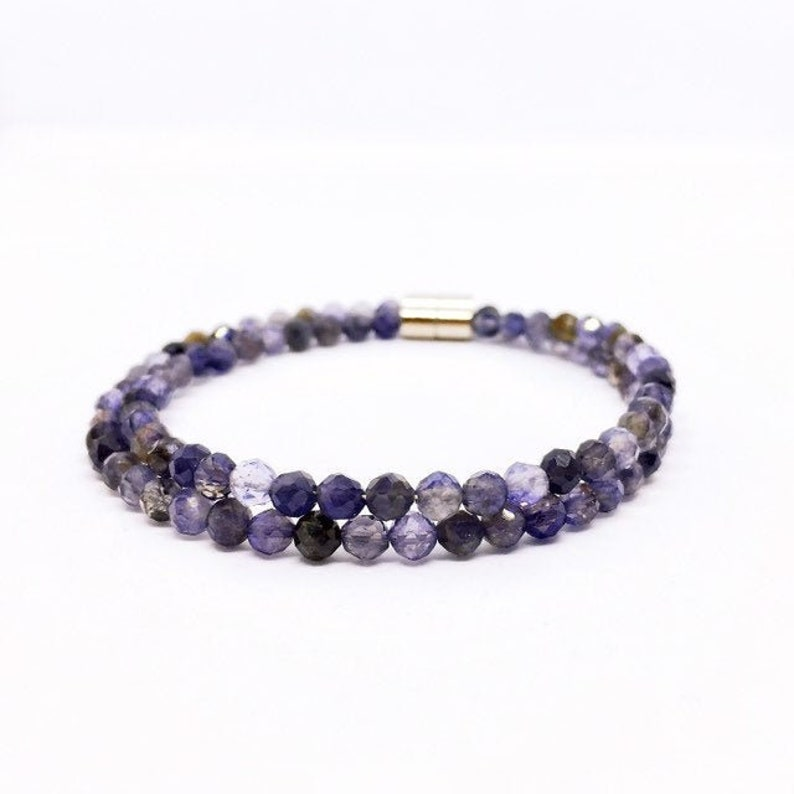 Iolite Bracelet Dainty Water Sapphire Bracelet Iolith image 0