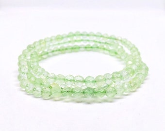 AAA Prehnite Bracelet, Multi layer Bracelet, Prehnit Armband, Faceted Prehnite Jewelry, valentines day gift, Calming Bracelet, Memory Stone