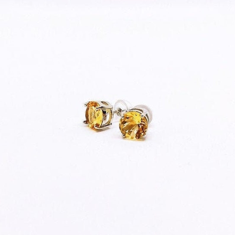 Citrine Stud Earrings Citrin Ohrringe Sterling Silver 7mm image 0