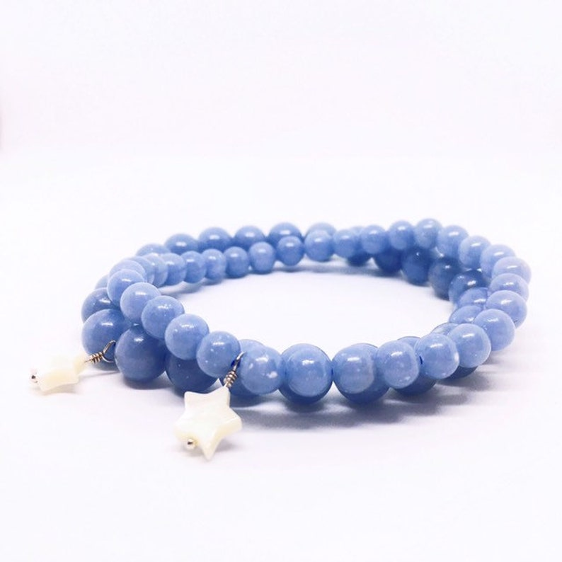 Angelite Bracelet Blue Anhydrite Bracelet Balancing Jewelry image 0