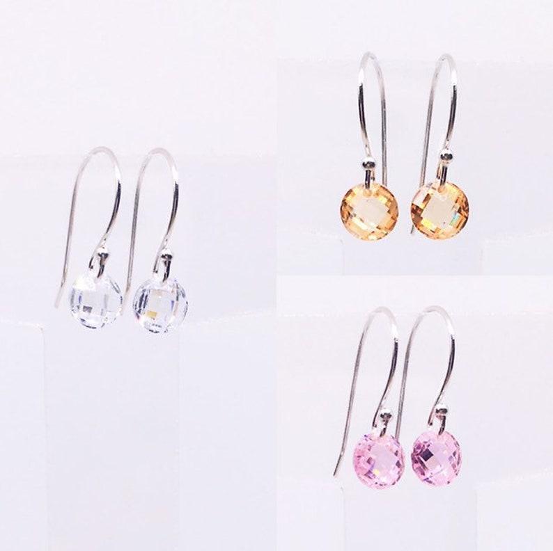 Sterling Silver CZ Earrings Minimalist Earrings Dainty Cubic image 0