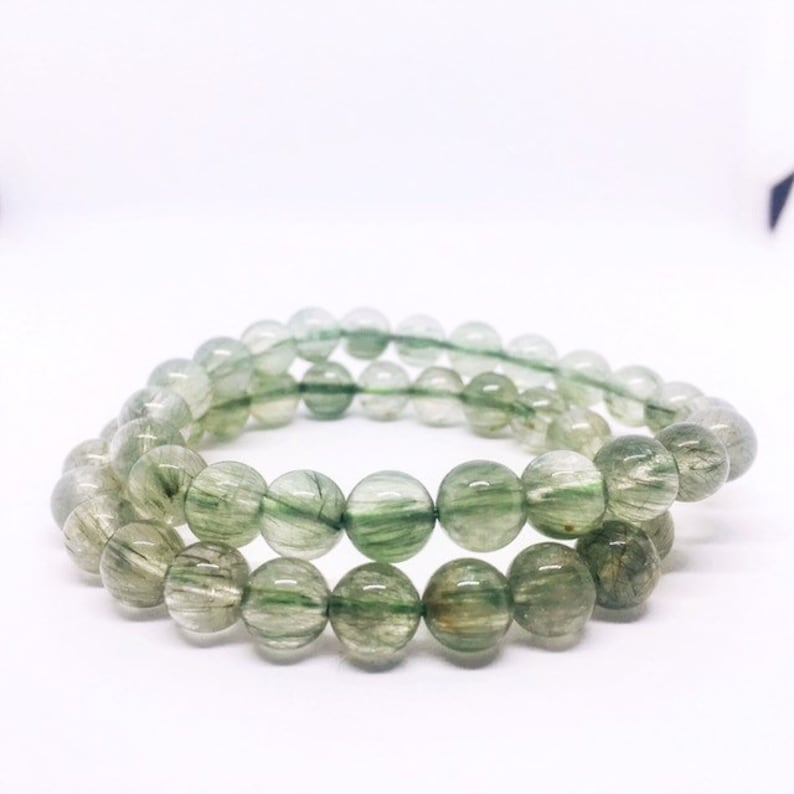 Green Rutilated Quartz Bracelet Rutilquarz Armband Green image 0