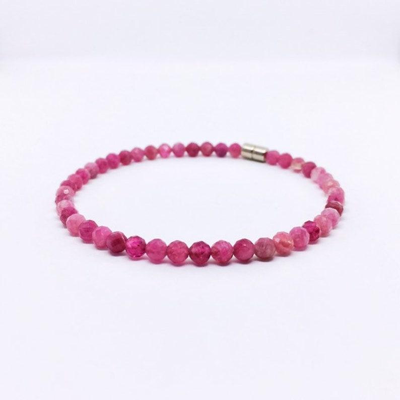 Dainty Pink Tourmaline Bracelet Turmalin Armband Raw image 0