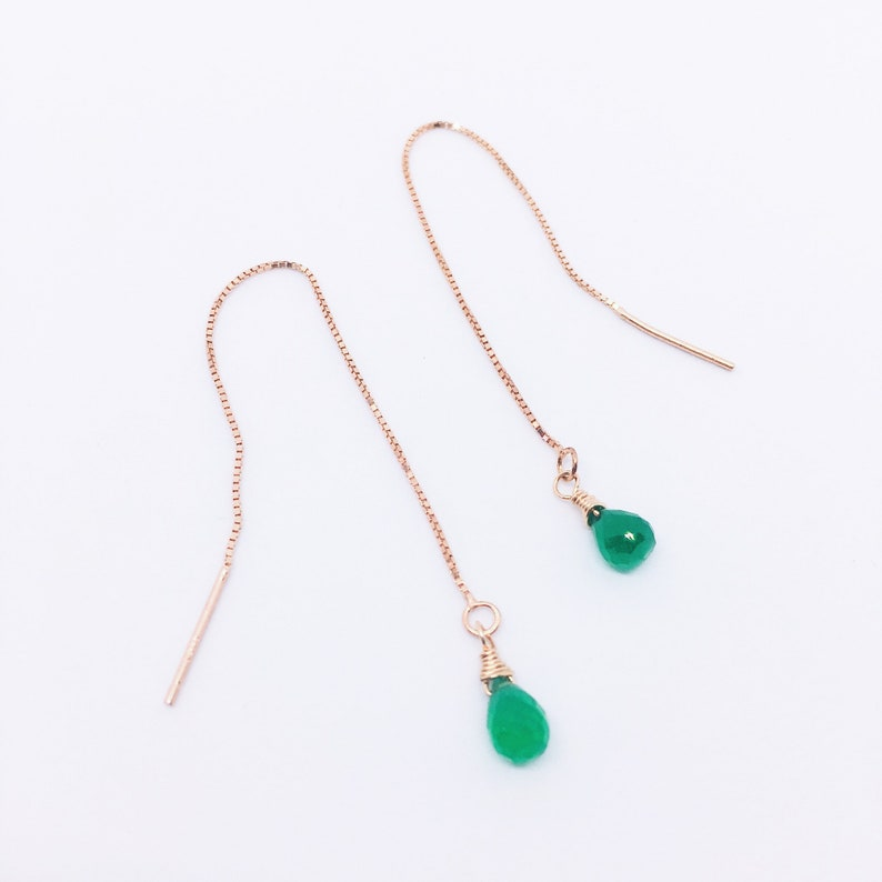 Green Onyx Threader Earrings Dainty Gemstone Chain Earrings image 0