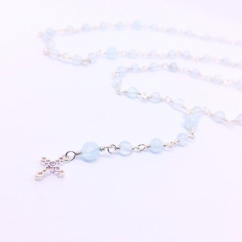 Aquamarine Catholic Rosary Beads Dainty Rosary Necklace image 0
