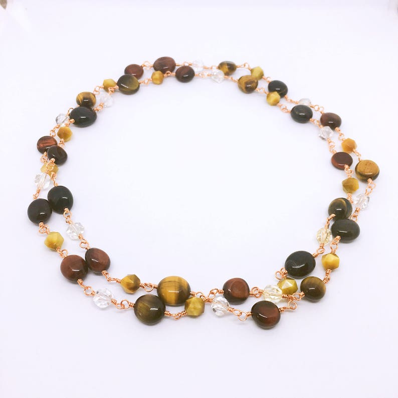 Tigers Eye Rosary Necklace Christmas Gift for mom Citrine image 0