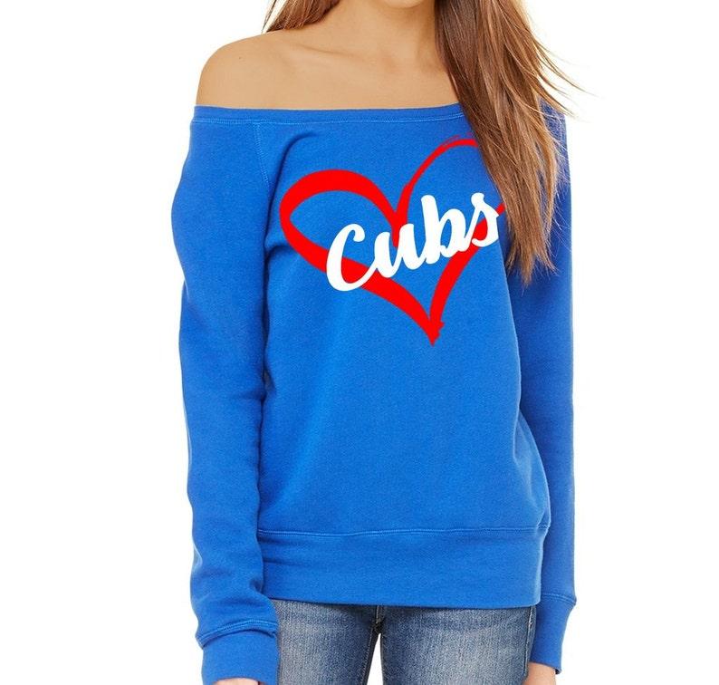 440857b365f6dc Chicago Cubs Off the Shoulder Sweatshirt